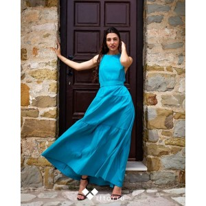 Ckontova Flared Taffeta Dress Turquoise