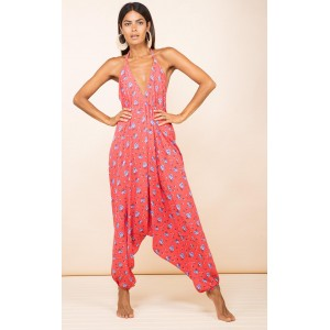 Dancing Leopard Genie Jumpsuit Red Daisy