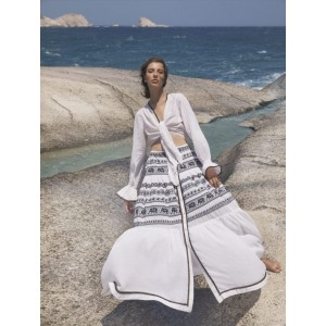 Devotion Set Maxi Skirt And Crop Top Off White Black