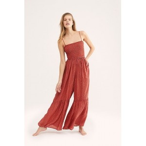 Free People Little Of Your Love Jumpsuit Rust Combo