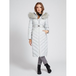 Guess Belted Padded Long Jacket Light Grey