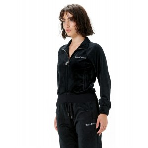 Juicy Couture Aurora Classic Embossed Velour Track Top Black
