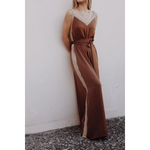Moutaki Flowy Brown Jumpsuit With Gold Details
