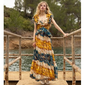 Nazezhda Multicolor Maxi Open Back Dress