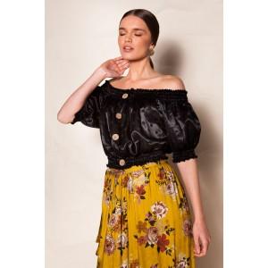 Nidodileda Helen Off Shoulder Silk Crop Top Black