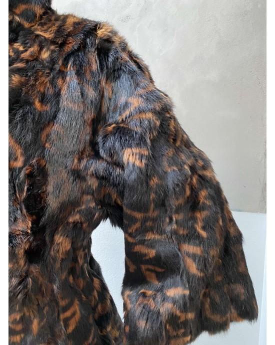 Vittoria Black And Flame Print Αληθινή Γούνα