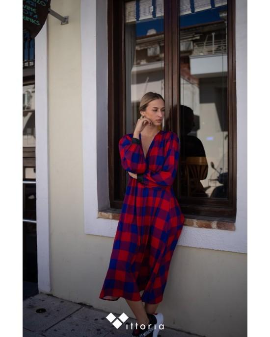 We_Are Gingham Check Μακρύ Φόρεμα Μπλε/Κόκκινο