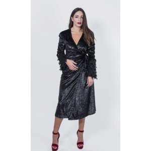 Stefania Vaidani Carmen Wrap-Black Dress