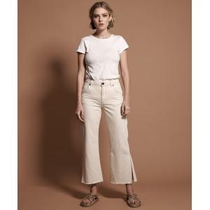Oneteaspoon Nashville Cream Libertines High Waist Cropped Wide Leg Jean