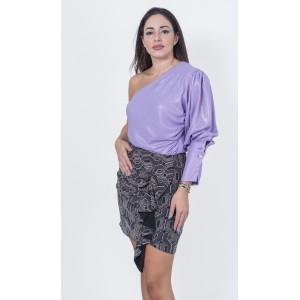 Stefania Vaidani Emily Shoulder Top Lilac